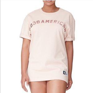 Good American Blush Pink Rose Gold Logo T Shirt